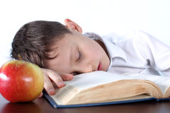 Boy sleeping on book Royalty Free Stock Photos