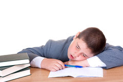Boy sleeping while doing homework Stock Photo