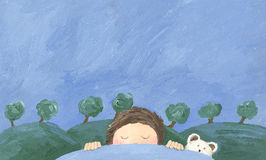 Boy sleeping and dreaming stock illustration