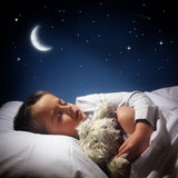 Boy sleeping and dreaming Stock Photography