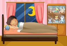 Boy sleeping in his bedroom Royalty Free Stock Photography