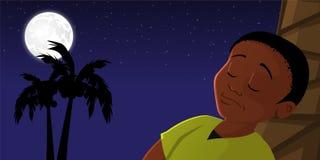 Boy sleeping outside. Cartoon vector illustration of a boy sleeping outside royalty free illustration