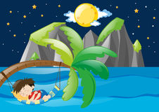 Boy sleeping by the sea at night. Illustration Royalty Free Stock Photography