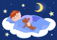 Boy sleeps. Boy and his teddy sleep. Cartoon illustration Royalty Free Stock Image
