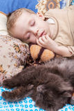 Boy sleeps with cat Royalty Free Stock Photography