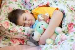 Boy sleeps with soft toys Stock Photography