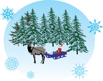 Boy on sleigh with deer Royalty Free Stock Photos