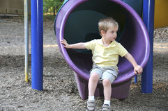 Boy on Slide Stock Photos