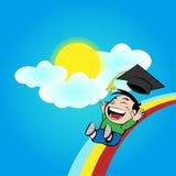 Boy slide on a rainbow Royalty Free Stock Photos