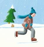 Boy sliding on winter skates Stock Photos