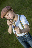 Boy with slingshot Royalty Free Stock Photo