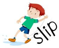 Boy slipping on the wet floor. Illustration Stock Photos