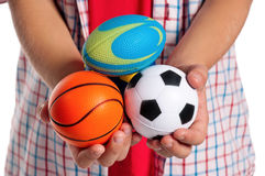 Boy with small balls Royalty Free Stock Photography