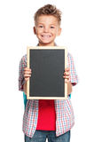 Boy with small blackboard Stock Photography