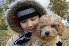 Boy and small dog Royalty Free Stock Image
