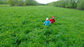 Boy and small girl  on meadow Royalty Free Stock Photos