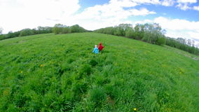 Boy and small girl  on meadow Stock Photos