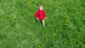 Boy and small girl  on meadow Stock Photo