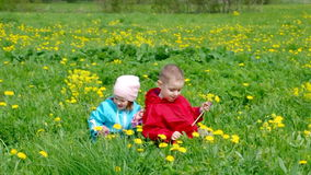 Boy and small girl  on meadow Stock Image
