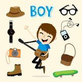 Boy Smart Cartoon Vector Stock Image