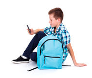 Boy with Smart Phone Royalty Free Stock Images