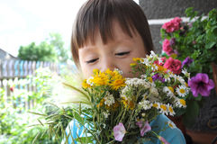Boy smelling summer bouquet of wildflowers Royalty Free Stock Images