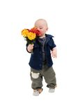 Boy smells flowers Royalty Free Stock Photo