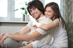 Boy with smile and beautiful girl stock images