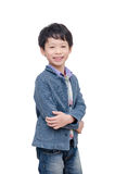 Boy smiles over white Royalty Free Stock Photo