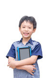 Boy smiles with tablet computer Royalty Free Stock Images