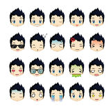 Boy smiley face icons set. Stock Photography