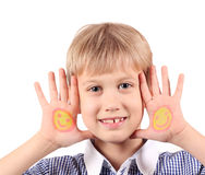 Boy with smiley on hands portrait Royalty Free Stock Images