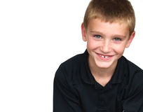 Boy smiling. Young boy smiling - wearing a black shirt Royalty Free Stock Images