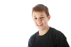 Boy smiling. Portrait of a boy smiling, isolated on white background Stock Photo