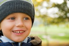 Boy smiling in autumn day Stock Image