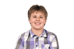 Boy smiling. Caucasian boy smiling isolated on white background royalty free stock images