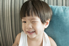 A boy smiling with decay teeth Stock Photography