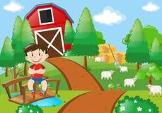 Boy smiling in the farm vector illustration