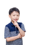 Boy smiling over white background Royalty Free Stock Image