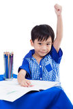Boy smiling and raise hand Stock Photography