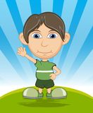The boy smiling and waving his hand cartoon vector illustration Royalty Free Stock Photography