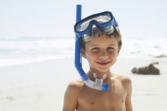 Boy With Snorkel on Beach Stock Photography