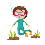 Boy snorkeling. Illustration of isolated boy snorkeling vector Stock Images