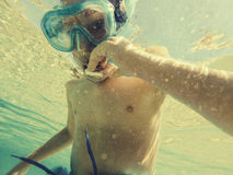 Boy snorkeling Royalty Free Stock Photo