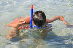 Boy with snorkeling mask Royalty Free Stock Images