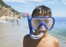 Boy with snorkeling mask Stock Image