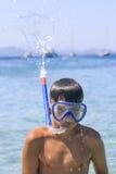 Boy with snorkeling mask Stock Photo