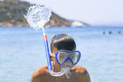 Boy with snorkeling mask Royalty Free Stock Photography