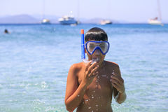 Boy with snorkeling mask Royalty Free Stock Photo