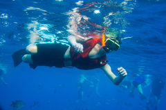Boy Snorkeling. In ocean under water Royalty Free Stock Photos
